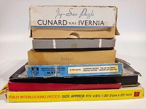 Job-Lot-Bundle-of-7-wooden-jigsaw-puzzles-vintage-diverses-marques-et-pieces