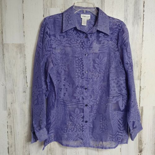 Long Sleeve Cotton Blouse Collared Button Up Shirt Women Medium Purple Gray Abstract Print Floral Top Coldwater Creek 90s Vintage Clothing