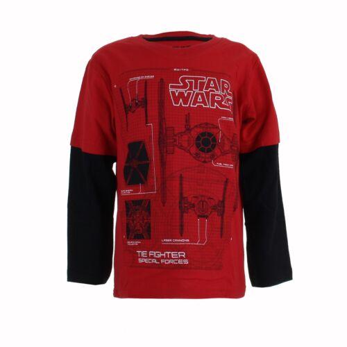 Star Wars Tie Fighter schematics Chicos Manga larga edad Contraste Camiseta 5-6