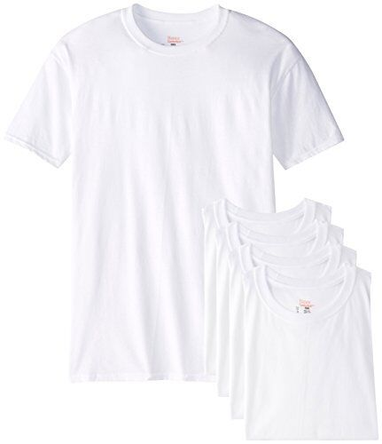 NEW Hanes Mens Big 5 Pack Crew T Shirt White XX Large FREE SHIPPING