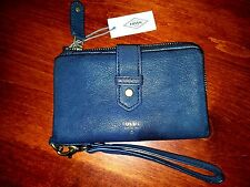 FOSSIL Becca Multi L Zip Wallet Ink Navy BlueTextured Leather Wristlet NWT! $80