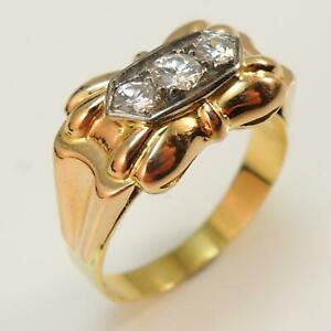 Vintage-Antique-18-Carat-Gold-Deco-Retro-Diamond-Ring