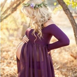 Off Shoulder Maxi Dress For Maternity Photography Clothes Sexy Pregnancy Dresses Ebay