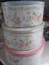 Pfaltzgraff Tea Rose Set of 3 Round Nested Storage Tins  MINT NEW
