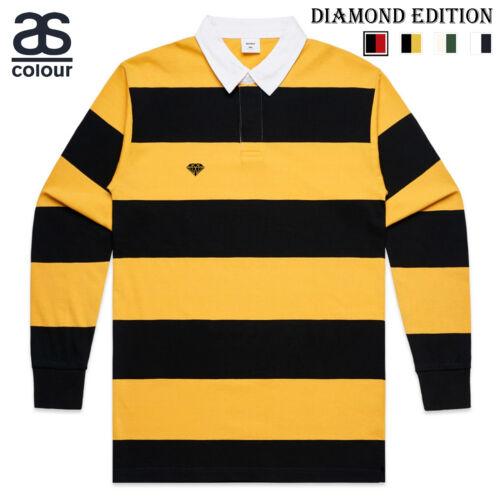 AS Colour Diamond Long Sleeve Mens Rugby Stripe Collar Polo T Shirt Tee Top 5416