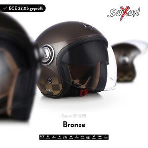 Soxon-sp-888-bronze-Jet-casque-Moto-Casque-vespa-solaire-visiere-ECE-xs-s-m-l-xl
