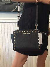 NWT Michael Kors Selma Stud Medium Messenger Crossbody Black Leather Bag $248