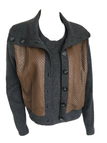 Anne Klein Leather Wool Silk Lined Grey Brown Two