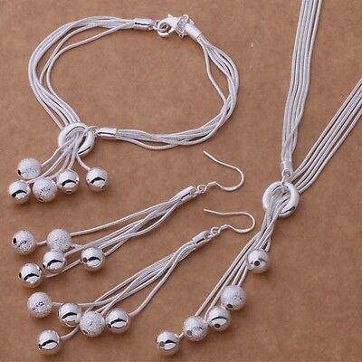 Pretty Silver plated bead charm Earring Bracelet Necklace set wedding lady women