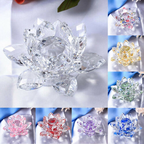 Crystal Lotus Flower Buddhist Ornaments Feng Shui Art Glass Paperweights