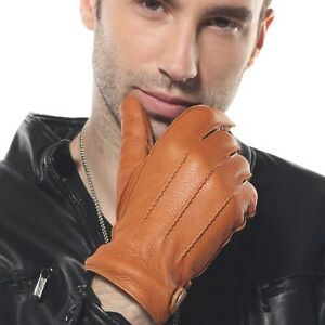 ELMA-Men-039-s-deerskin-leather-winter-driving-cashmere-lined-Gloves