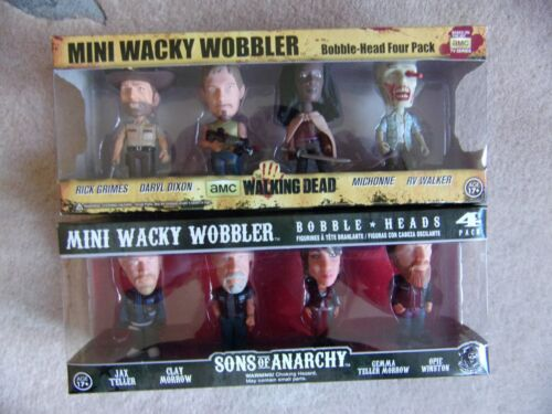 SONS OF ANARCHY THE WALKING DEAD FUNKO Mini WACKY WOBBLER Bobble Heads 4 Pack
