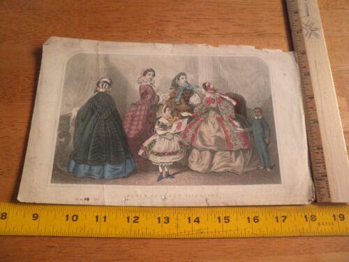 "Godey's Fashion Feb 1860s color 6x10"" ladies forma"