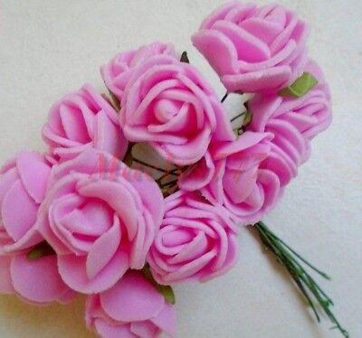 lot 12 pcs  rose en mousse blanche 2cm décoration mariage,baptême.