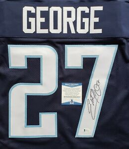Autographed//Signed Eddie George Tennessee Dark Blue Football Jersey Beckett BAS COA