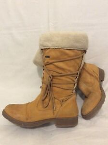 Dalset Útil serie  Geox Beige Mid Calf Leather Boots Size 4 | eBay