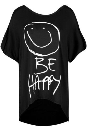 Donna Oversize Smiley essere felici le donne scollo tondo Baggy Batwing Hi Lo T Shirt Top