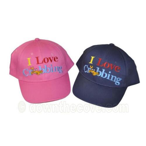 i LOVE crabbing cappellino-blu o rosa-Ragazzi / Ragazze Cappello Da - 2 Taglie