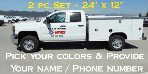 2 pc set HVAC Door Sides car truck van work Sticker Decal custom trailer AC