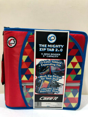 Case It 3 Rings 3 Inch Capacity D-159-P The Mighty Zip Tab 2.0 Binder
