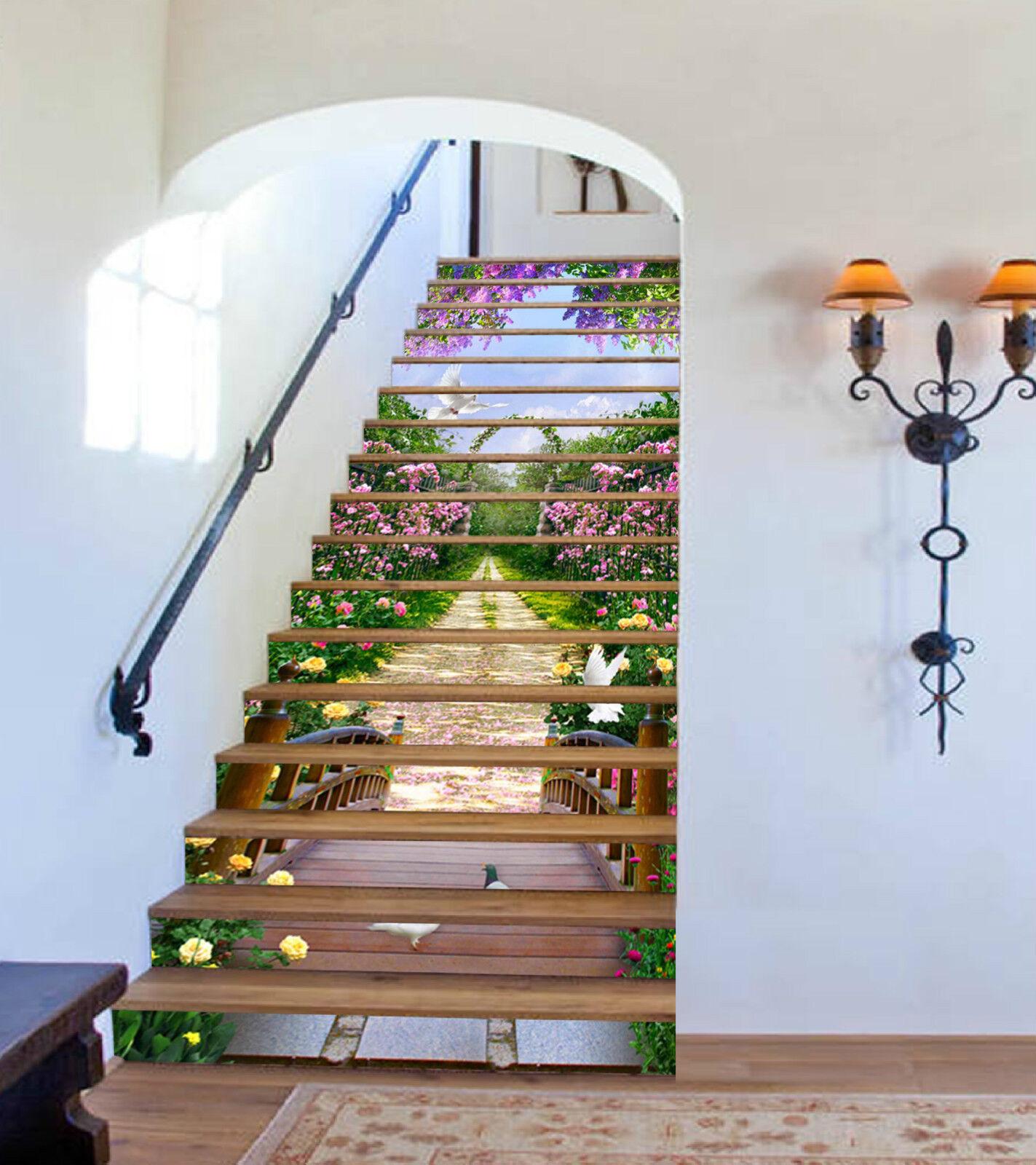 3D Schöner Garten 1 Stair Risers Dekoration Fototapete Vinyl Aufkleber Tapete DE