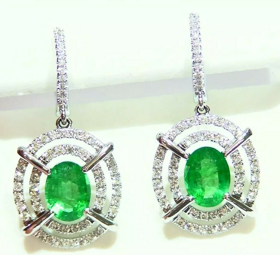 2.02CT 18K gold Natural Cut White Diamond Emerald Vintage Engagement Earrings