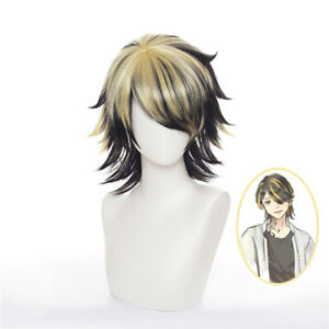 Tokyo Revengers Kazutora Hanemiya Full Wig Short Gold Black Hair Cosplay Wig Cap
