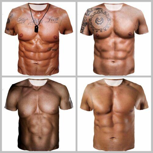 New Fashion Women//Men Muscle Funny 3D Print Casual T-Shirt E148