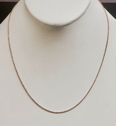 "14k Rose Gold Diamond Cut Wheat Link Pendant Chain//Necklace 16/"" 1.2mm 2.3 grams"
