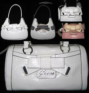 Details about GUESS Lulin Logo Bag Purse Satchel Hobo White Small top Handle Multi New