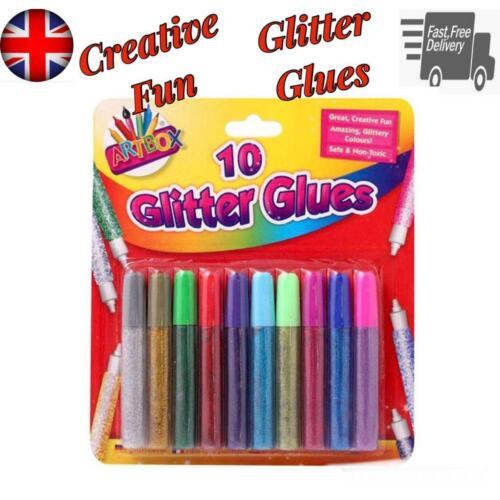 10Pc Glitter Coloured Glue Gel Pens Tubes Assorted Sparkly Kids DIY Art /& Craft