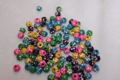 5017 lot of 125 5mm painted wooden beads