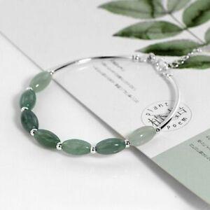 Damen-Armband-Natuerliche-Gruen-Jade-Stein-Silber-925-Armreif-15-2-cm-Geschenk-Neu