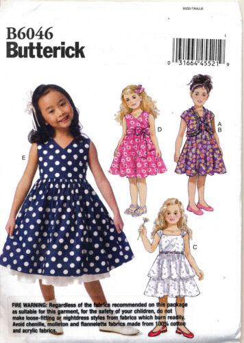 BUTTERICK SEWING PATTERN 6046 GIRLS//TODDLERS SZ 2-5 DRESSES /& SHRUG W// RUFFLE