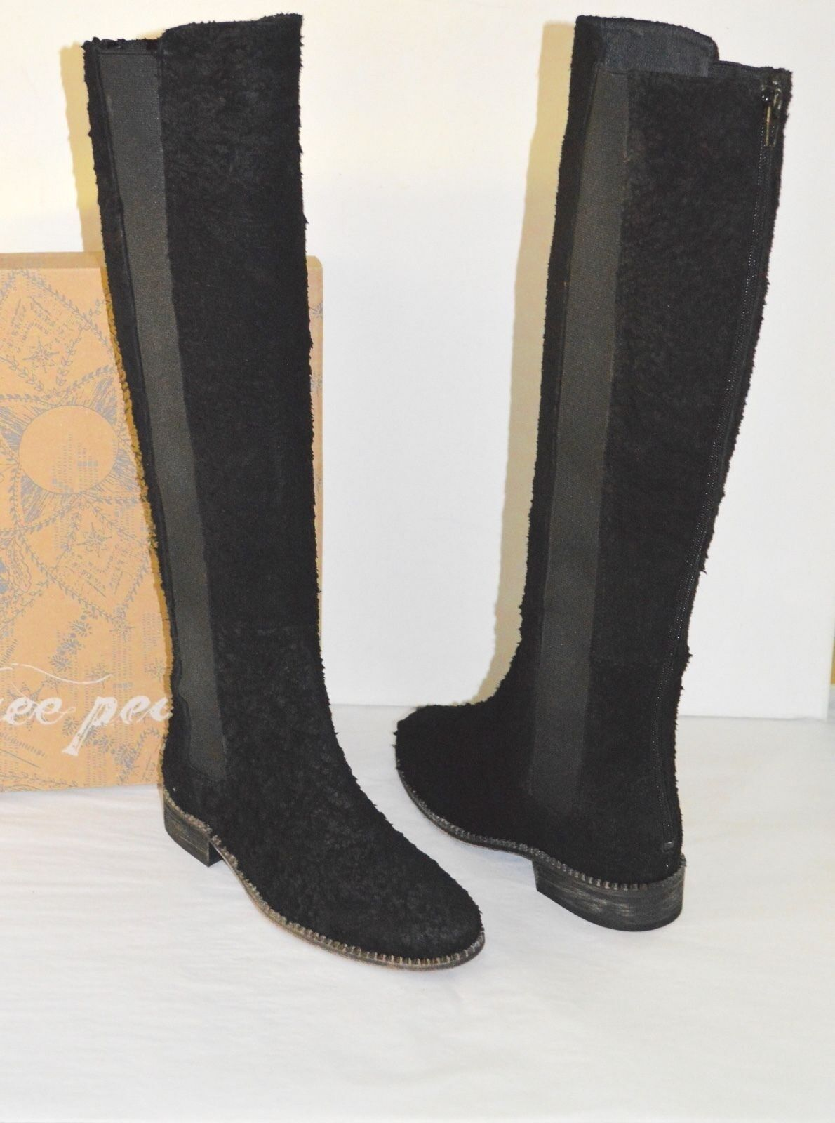 New $298 Free People Callow Tall/Knee High Boots Pull On Distressed Suede Black