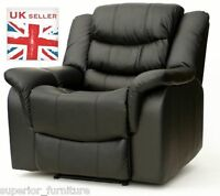 Luxury Chunky Black Leather Cinema Recliner Chair w/ Massage Gaming Reclining