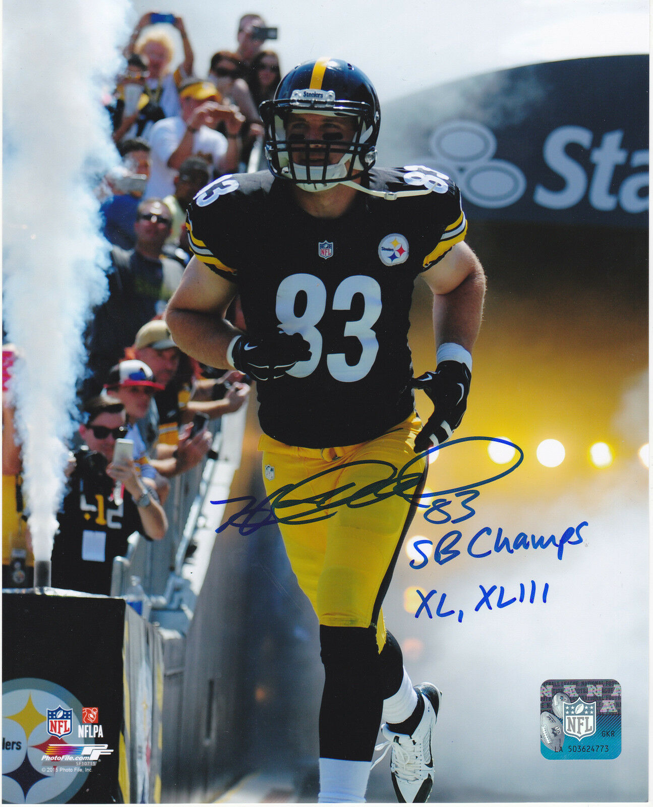 Heath Miller Pittsburgh Steelers Sb Campeones XL, Xliii Acción Firmado 8x10