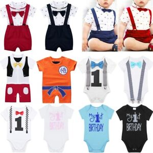 Baby-Girl-Boy-1st-First-Birthday-Bowtie-Romper-Party-Bodysuit-Clothes-Outfit-Set