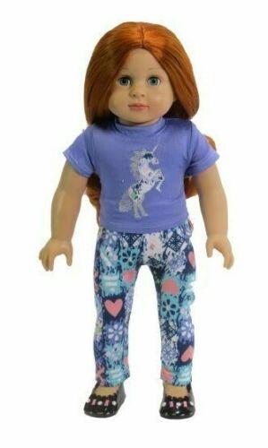 "Magic Unicorn Purple Pant Set Fits 18/"" American Girl Doll Clothes"