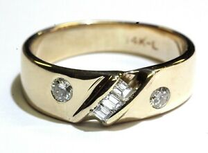14k-yellow-gold-53ct-round-baguette-diamond-mens-ring-wedding-band-8-0g-vintage