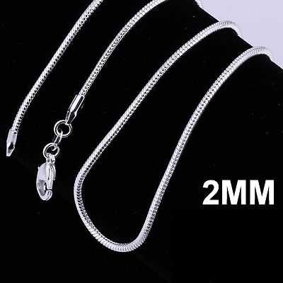 fashion 925 sterling silver plated pretty 2MM snake chain necklace for pendant