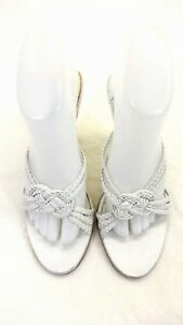 ENZO-ANGIOLINI-WOMEN-039-S-WHITE-WOVEN-LEATHER-SANDALS-4-034-HEELS-SIZE-7-5-M