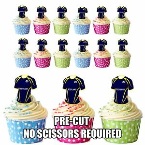 Image Is Loading PRECUT Scotland Rugby Shirts Edible Cupcake Toppers Boys