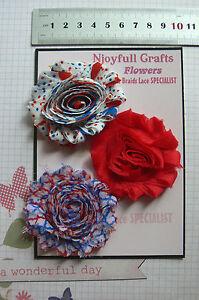 LATTE AQUA IVORY Floral Fabric SatinOrganza 5 Flower Pk 50-90mm Njoyfull CraftsZ