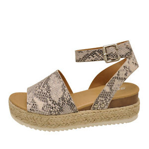 9d22da3f716 Details about Soda TOPIC Beige Python Women's Platform Wedge Espadrille  Sandals