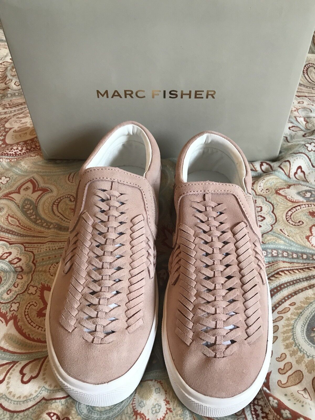 NEW Marc Fisher Dexie2 Sz 5 Tennis Shoes Loafers Light Pink Suede Blush Woven