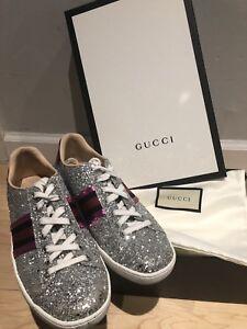 $670 Gucci Women's Ace Glitter Sneakers