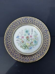 Vintage-Aynsley-Collectable-Fine-English-Bone-China-Plate-Blue-Gold-Leaf-Trim