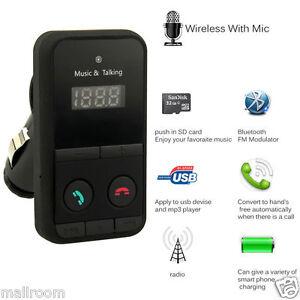 Wireless-Bluetooth-Handsfree-Car-Kit-FM-Transmitter-USB-Charger-Audio-MP3-Player