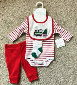 NWT-Starting-Out-Newborn-Infant-Baby-Boy-4-Piece-Christmas-Outfit-Set-Santa